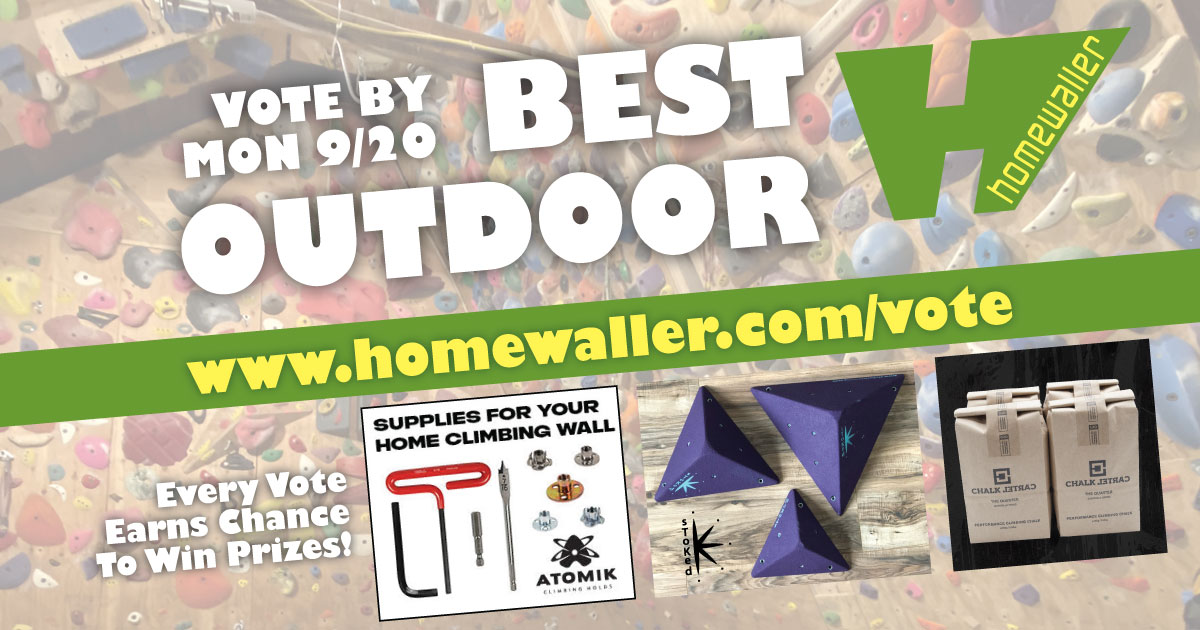vote for the best outdoor home climbing wall by Sep 20